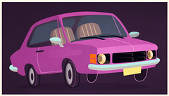 Opalinha Rosa Choque SS (Works by Issao Bazolli) Tags: color art car illustration digitalart cartoon ilustrao vetor opala rosachoque opalass