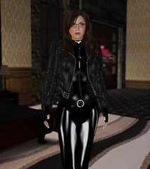 Casual Yet Practical (alexandriabrangwin) Tags: world woman black leather rose fetish computer hair glasses belt 3d bedroom graphics shiny long steel rubber glossy jacket gloves secondlife virtual latex corset lipstick mistress catsuit pvc cgi nacklace patent fingerless hugosdesign alexandriabrangwin brangwinmanor