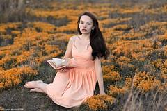 Orange flower (petrovpix) Tags: wood flowers sexy liza girl forest book evening nikon 85mm land daniil sheleg d700 petrovpix