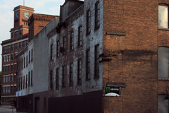 Sunday morning, Prospect Street, Amsterdam, NY (2013) (Mark Barnette) Tags: urban ny amsterdam earlymorning upstate newyorkstate postindustrial montgomerycounty afterwalkerevans formermilltown mohawkrivervalley markbarnette