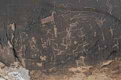 Petroglyphs / Dark Angel Site (Ron Wolf) Tags: archaeology utah nationalpark panel fremont nativeamerican dots archesnationalpark petroglyph anthropology rockart zoomorph bighornsheep superimposition anthropomorph wavyline anthromorph