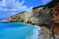 Porto-Katsiki Beach (Photo_hobbyist) Tags: blue sea sky beach water clouds swim island sand rocks greece porto lefkas ionian lefkada katsiki