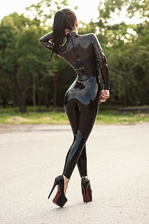 Black catsuit by Marilyn Yusuf