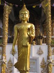 Beautiful gold Buddha in a walking pose (oldandsolo) Tags: thailand southeastasia buddha buddhism chiangmai wat highstreet buddhisttemple norththailand buddhistshrine watbuppharam buddhistreligion chiangmaistreet buddhistfaith chiangmaitraffic downtownchiangmai