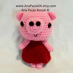Sweet Little Pig looking for a new home :) (Ana Paula Rimoli) Tags: pig crochet plush amigurumi peppapig anapaulaolietsycom