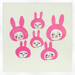 Pink Rabbits (Andrea Kang) Tags: pink cute bunny bunnies illustration square sketch drawing illustrated drawings squareformat kawaii marker sharpie rabbits iphoneography andreakang instagramapp uploaded:by=instagram
