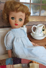 (28) Early Riser (Foxy Belle) Tags: wood lake girl vintage early wooden cozy high bed log bedroom cabin inch doll rustic cottage hard adirondacks american 1950s kirsten 19 diorama uneeda heeled dollikin