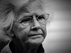 Kind (pootlepod) Tags: street blackandwhite white love monochrome lady hair photography glasses sweet kind elderly lovely staring gentle stphotographia