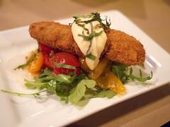 Dinner - Appetizer, Mine (PlaysWithFood) Tags: burger sausage crab pasta hamburger bolognese grovehill smokedsausage sweatbreads timbando