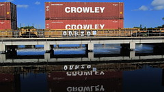 Orkid (Stalkin The Lines) Tags: reflection graffiti railway freighttrains orkid trainbridge crowley freights rollingstock benching intermodals benchingfreights