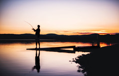 Tranquility of summer nights (Appe Plan) Tags: bridge light sunset summer people sun lake fish reflection home water colors beautiful silhouette night port reflections river fishing nikon colours sweden dalarna pire malung appe d700