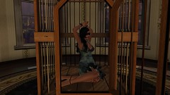 Captive (alexandriabrangwin) Tags: world woman pet sexy fetish computer 3d graphics erotic play nikki ds cage bondage secondlife virtual salon sexual tied cgi classy blindfold gagged submissive handcuffed mondybristol arentire