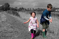 Colourful life (my_LittleDuck) Tags: bw colour children processed alfriston week33 52of2014