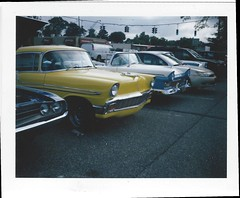 Polaroid 340 Chevy (Jared R. Jackowitz) Tags: camera family sunset red sky color cars film colo clouds polaroid automatic land instant daytona 340 polarroid instantfilm