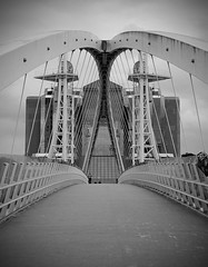 Quay (The Crewe Chronicler) Tags: bridge blackandwhite docks canon manchester salfordquays symmetry symmetrical tamron salford offices greatermanchester peelholdings 60d canon60d