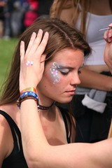 Young lady having her face painted at Lodestar