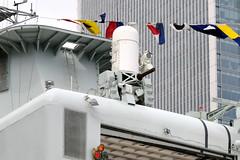 Phalanx 20mm close-in weapon system - Royal Canadian Navy destroyer HMCS Iroquois - London Docklands (edk7) Tags: uk england london ship military weapon 20mm warship iroquois gatlinggun hmcs d300 isleofdogs towerhamlets phalanx ciws rcn southquay royalcanadiannavy 2013 closeinweaponsystem hermajestyscanadianship tribalclassdestroyer edk7 ddg280 westindiaandmillwalldocks canarywharfofficebuilding areaairdefence generaldynamicsraytheon mod1b