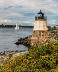 Castle Hill Light House (Southern New England Photography) Tags: summer usa lighthouse water sailboat america canon harbor boat waves unitedstates shoreline newengland rhodeisland newport transportation northamerica coastline sigmalens castlehilllighthouse eos70d sigma1750mmf28dcoshsm