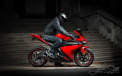 R125 - Rider (jasoncstarr) Tags: red lightpainting stairs canon flash steps motorcycles bikes sigma motorbike yamaha sportbike lams teacherscollege sportsbike armidale 2470mm lightpainted 70d r125 430exii canoneos70d sigma2470mmexdgmacrolens