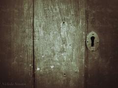 Through the Keyhole (newton.nichola) Tags: door wood texture garden landscape mono wooden key fuji hole rustic shed used keyhole simple