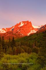 Summer Sunrise on Hallett Peak (RondaKimbrow) Tags: red summer mountain green forest sunrise landscape colorado rockymountainnationalpark hallettpeak stormpass httprondakimbrowphotography500pxcom