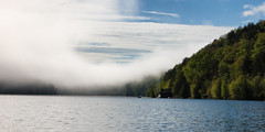 Fogs Disappating (Justin D. West) Tags: water fog reflections quebec canoe meechlake nikond40