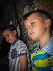 callum and his older cousin james (ben cairns) Tags: face look moody view cousins son isleofwight coolpix cowes callum nikonp510
