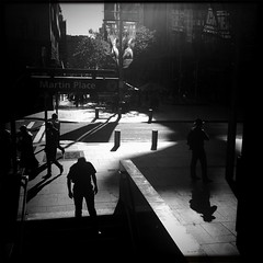 every which way but dead (Albion Harrison-Naish) Tags: light blackandwhite monochrome square shadows sydney australia squareformat nsw newsouthwales lightandshadow martinplace unedited iphone mobilephotography iphone4 johnslens iphoneography sydneystreetphotography hipstamatic blackeyssupergrainfilm streetphotogoraphy