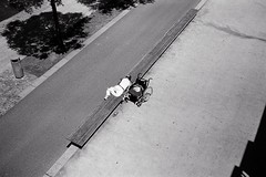 Resting (Etienne Curtenaz) Tags: street city bw man france film 35mm lyon tx trix streetphotography konica analogue konicahexar hexar konicahexaraf filmphotography