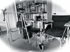 Walker, Crutches, Wheelchair (Julie70 Joyoflife) Tags: bw london home wheelchair walker londres crutches photostream 123bw photojuliekertesz