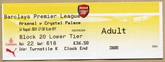 Arsenal v Crystal Palace ticket (The Wright Archive) Tags: london football crystal grove stadium saturday ticket august palace emirates v match 16 premier arsenal league afc ashburton 2014 cpfc