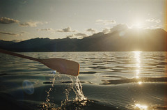 jasper - july 2014 (Džesika Devic) Tags: travel friends sunset mountains film nature 35mm lens jasper angle kodak wide july roadtrip canoe lightleak analogue canonae1 sunflare