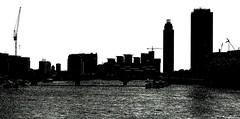 skyline (BadMoodyNurse) Tags: sky blackandwhite bw white black building london thames skyline architecture river wb whiteandblack