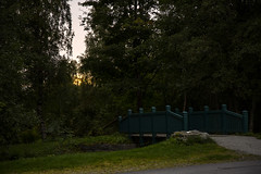 The Bridge (Askjell's Photo - @work - very slow internet) Tags: bridge sunset green norway forest canon evening norge photo woods flickr sundown image picture volda newmindspace throughtheviewfinder rotevatnet askjell reneset