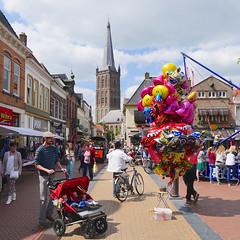 Sunny Steenwijk (andzwe) Tags: city copyright netherlands dutch hat balloons lumix colorful babies  nederland cities sunny panasonic cap markt reza kermis kleurrijk steenwijk ballonnen zonnig wibra gh4 andzwe steenwijkertoren groteofstclemenskerk panasonicdmcgh4 duobuggy