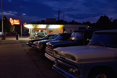 The Dari Creme (JasonCameron) Tags: blue light ohio sky food classic night clouds vintage fast retro creme hour portsmouth dari