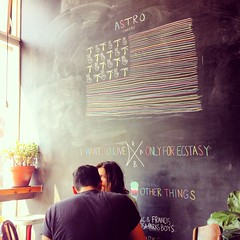 Astro Coffee (ekelly80) Tags: summer coffee weekend michigan flag detroit coffeeshop chalkboard saturdaymorning corktown astrocoffee august2014