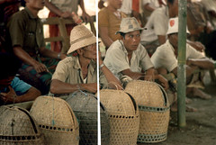 26-153 (ndpa / s. lundeen, archivist) Tags: people bali man color men bird film hat birds 35mm indonesia basket 26 cut nick hats cock arena southpacific handlers baskets damage rooster cocks 1970s spectators 1972 handler roosters indonesian cockfight gamecock onlookers gamecocks balinese splice dewolf oceania pacificislands cockfighting spliced damagednegative nickdewolf photographbynickdewolf cockfightingarena reel26 cockfightarena