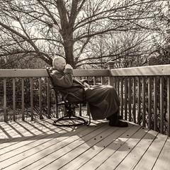 Coffee on the Deck (Oliver Leveritt) Tags: nikond610 afsnikkor2470mmf28ged oliverleverittphotography sb800 flash speedlight abetterbouncecard porch deck winter baretrees