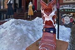 A Boot in Boston (AntyDiluvian) Tags: boston massachusetts backbay newburystreet shop store western rickwalkers boot cowboyboot snowbank