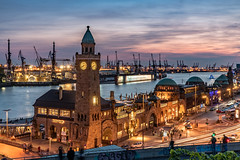 Harbourview (Achim Thomae) Tags: germany thomae achimthomae 2016 deutschland hamburg landungsbrücken sunset bluehour