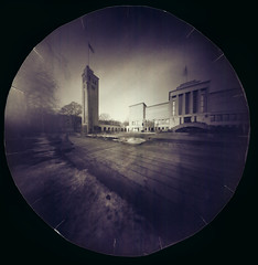War Museum with Tower (batuda) Tags: pinhole obscura stenope lochkamera analog analogue jar round circle lid jarlid film paper ortho orthochromatic photocopy 8 wide wideangle lowangle d76 color colour toned 9950f architecture building interwar modernist artdeco modernism town city kaunas war museum lithuania lietuva