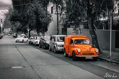 DSC05097-Edit.jpg (alexlv10) Tags: road street blackandwhite orange color colour car photography side parking sydney newtown selectivecolour