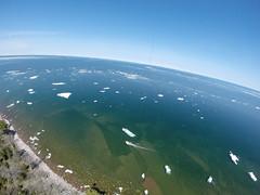 Rabbit Island Towed Ice KAP (Invinci_bull) Tags: ice spring michigan iceberg kap upperpeninsula lakesuperior kiteaerialphotography rabbitisland keweenaw keweenawbay keweenawpeninsula michigansupperpeninsula traverseisland flamerokkaku wwkap2014