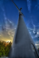 Man made nature (FAM Martin Z) Tags: blue sunset orange yellow canon landscape air surreal bluesky manmade hdr dreamscape windgenerator windengine