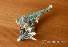 "Dollar Origami ""Hand Gun"" v1 ($ craigfoldsfives) Tags: money origami dollar moneyorigami dollarorigami craigfoldsfives craigsonnenfeld"