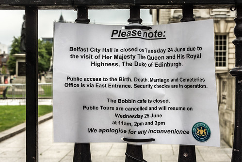 QUEEN VISITS BELFAST WHILE I AM THERE