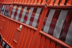 DSC_3320 [ps] - Thick-Cut Marmalade (Anyhoo) Tags: red urban orange white reflection warning fence germany deutschland stripes screen bands repetition barrier freiburg baden badenwrttemberg freiburgimbreisgau anyhoo photobyanyhoo