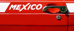 Mexico (S Cansfield) Tags: door red classic ford car mexico handle lumix stripes panasonic chrome escort mk1 gx1