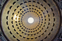 Sundial (GaryTumilty) Tags: roof light italy sun black rome building yellow architecture circle gold pattern hole pantheon ceiling beam
